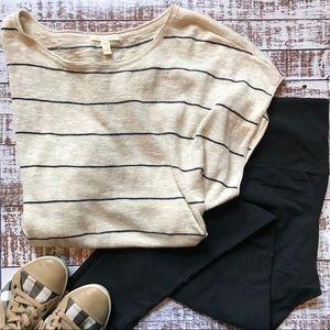 Eileen Fisher Stripe Linen/Cotton Boxy Hi/Low Top